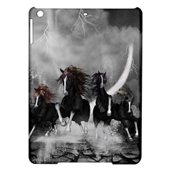 Awesome Wild Black Horses Running In The Night Ipad Air Hardshell Cases by FantasyWorld7