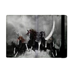 Awesome Wild Black Horses Running In The Night Ipad Mini 2 Flip Cases by FantasyWorld7