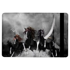 Awesome Wild Black Horses Running In The Night Ipad Air Flip by FantasyWorld7