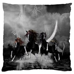 Awesome Wild Black Horses Running In The Night Standard Flano Cushion Case (two Sides) by FantasyWorld7
