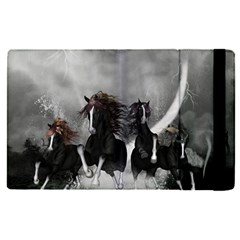 Awesome Wild Black Horses Running In The Night Apple Ipad Pro 9 7   Flip Case by FantasyWorld7