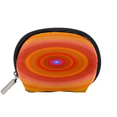 Ellipse Background Orange Oval Accessory Pouches (small)  by Nexatart