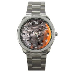 Fireplace Flame Burn Firewood Sport Metal Watch