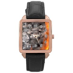 Fireplace Flame Burn Firewood Rose Gold Leather Watch
