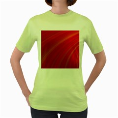Abstract Red Background Fractal Women s Green T Shirt