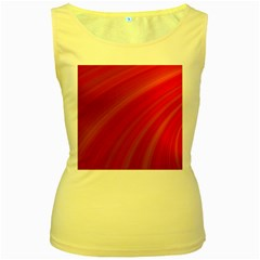 Abstract Red Background Fractal Women s Yellow Tank Top