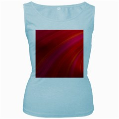 Abstract Red Background Fractal Women s Baby Blue Tank Top
