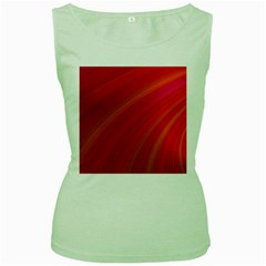 Abstract Red Background Fractal Women s Green Tank Top