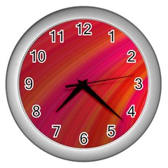 Abstract Red Background Fractal Wall Clocks (silver)