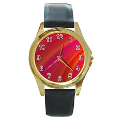 Abstract Red Background Fractal Round Gold Metal Watch