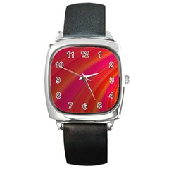 Abstract Red Background Fractal Square Metal Watch