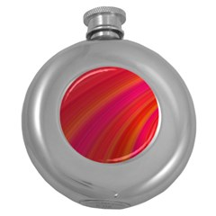 Abstract Red Background Fractal Round Hip Flask (5 Oz)