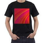 Abstract Red Background Fractal Men s T-Shirt (Black) Front