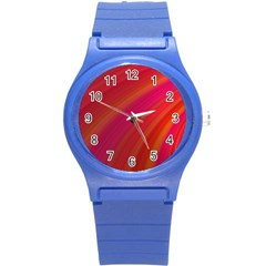 Abstract Red Background Fractal Round Plastic Sport Watch (s)
