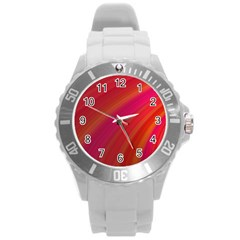 Abstract Red Background Fractal Round Plastic Sport Watch (l)