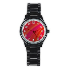 Abstract Red Background Fractal Stainless Steel Round Watch