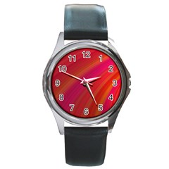 Abstract Red Background Fractal Round Metal Watch