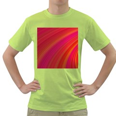 Abstract Red Background Fractal Green T Shirt