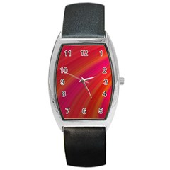 Abstract Red Background Fractal Barrel Style Metal Watch