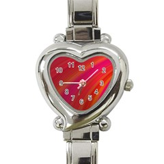 Abstract Red Background Fractal Heart Italian Charm Watch