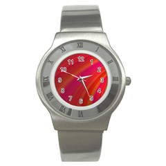 Abstract Red Background Fractal Stainless Steel Watch