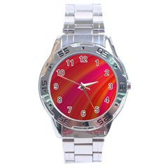Abstract Red Background Fractal Stainless Steel Analogue Watch by Nexatart