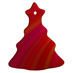 Abstract Red Background Fractal Christmas Tree Ornament (two Sides)