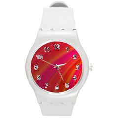Abstract Red Background Fractal Round Plastic Sport Watch (m)