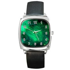 Green Space All Universe Cosmos Galaxy Square Metal Watch