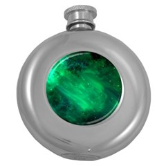 Green Space All Universe Cosmos Galaxy Round Hip Flask (5 Oz) by Nexatart
