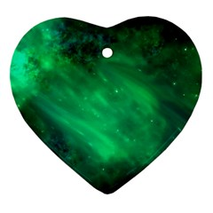 Green Space All Universe Cosmos Galaxy Heart Ornament (two Sides)