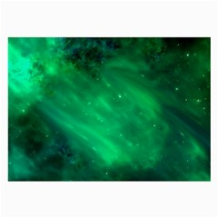 Green Space All Universe Cosmos Galaxy Large Glasses Cloth (2-side) by Nexatart