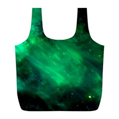 Green Space All Universe Cosmos Galaxy Full Print Recycle Bags (l)