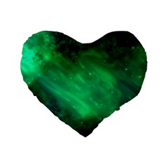 Green Space All Universe Cosmos Galaxy Standard 16  Premium Flano Heart Shape Cushions by Nexatart