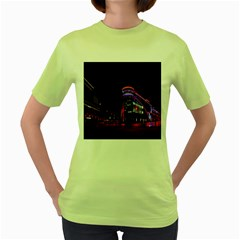 Moscow Night Lights Evening City Women s Green T Shirt