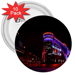 Moscow Night Lights Evening City 3  Buttons (10 Pack)  by Nexatart