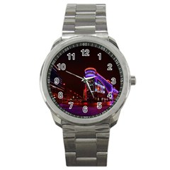 Moscow Night Lights Evening City Sport Metal Watch