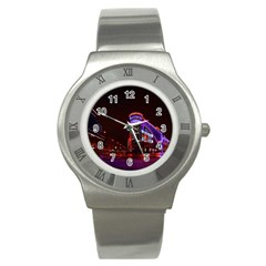 Moscow Night Lights Evening City Stainless Steel Watch by Nexatart