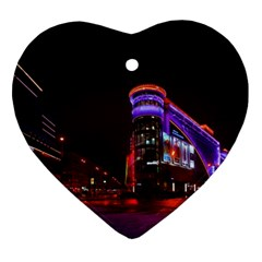 Moscow Night Lights Evening City Heart Ornament (two Sides)