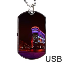 Moscow Night Lights Evening City Dog Tag Usb Flash (one Side)