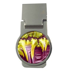 Yellow Magenta Abstract Fractal Money Clips (round)