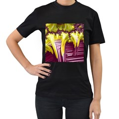 Yellow Magenta Abstract Fractal Women s T Shirt (black) (two Sided)