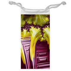 Yellow Magenta Abstract Fractal Jewelry Bag