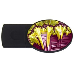 Yellow Magenta Abstract Fractal Usb Flash Drive Oval (4 Gb) by Nexatart