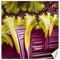 Yellow Magenta Abstract Fractal Canvas 12  X 12   by Nexatart