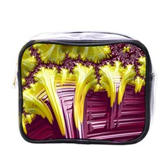 Yellow Magenta Abstract Fractal Mini Toiletries Bags by Nexatart