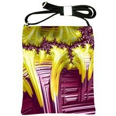Yellow Magenta Abstract Fractal Shoulder Sling Bags