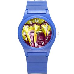 Yellow Magenta Abstract Fractal Round Plastic Sport Watch (s)