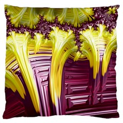 Yellow Magenta Abstract Fractal Large Cushion Case (one Side) by Nexatart