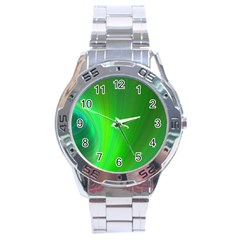 Green Background Abstract Color Stainless Steel Analogue Watch